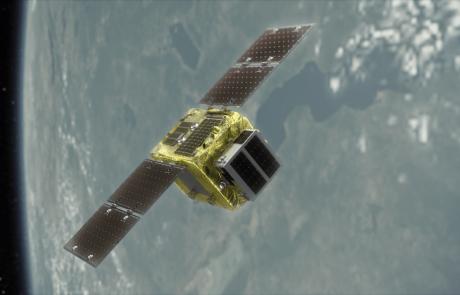 הודעה לעיתונות לוויין ניקוי החלל של Astroscale, יוצא לאתר השיגור