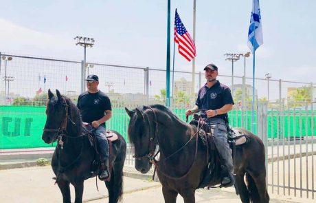 חייל הפרשים של משטרת ישראל נערך להשקת פארק טראמפ