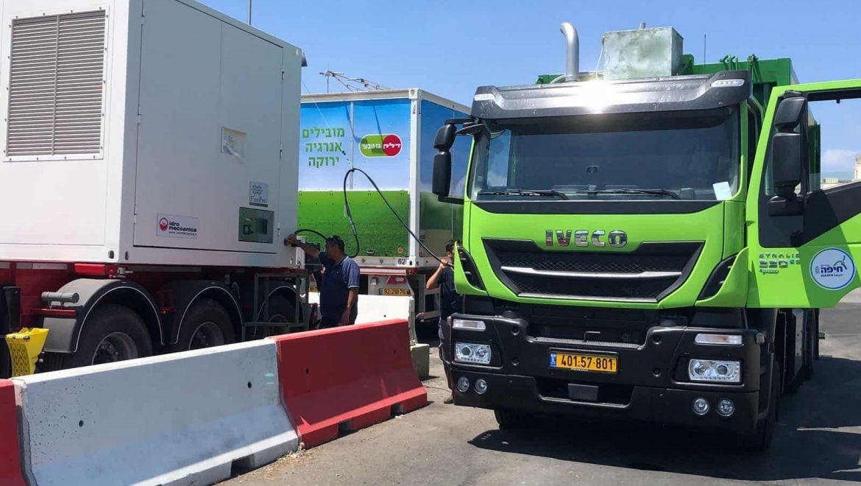 חיפה: לראשונה בארץ 5 משאיות לאיסוף אשפה  המונעות בגז טבעי החלו לפעול בעיר